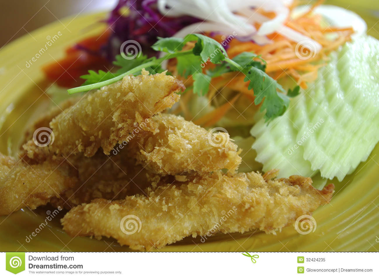Fried fish and salad dish royalty free stock photo image for Fish and salad