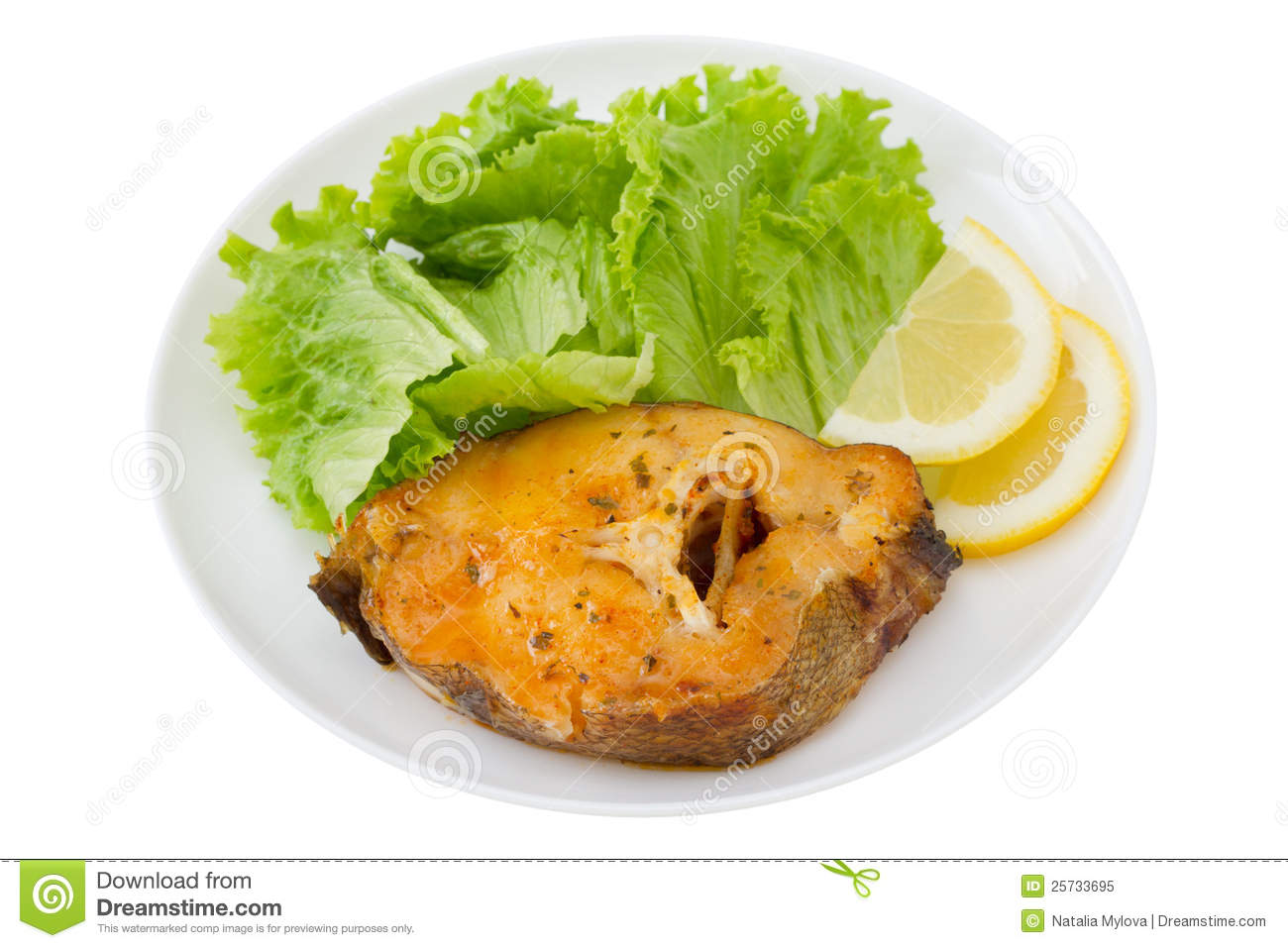 Fish with salad and lemon royalty free stock photo image for Fish and salad