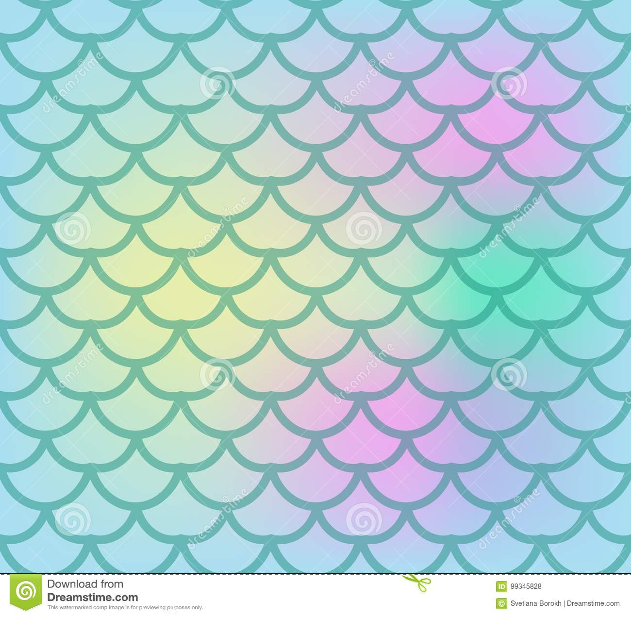 Fish scales seamless pattern. Fish skin endless background, mermaid tail repeating texture. Vector illustration.