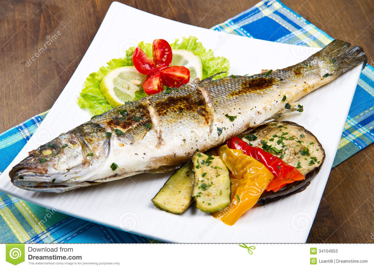 Fish, sea bass grilled