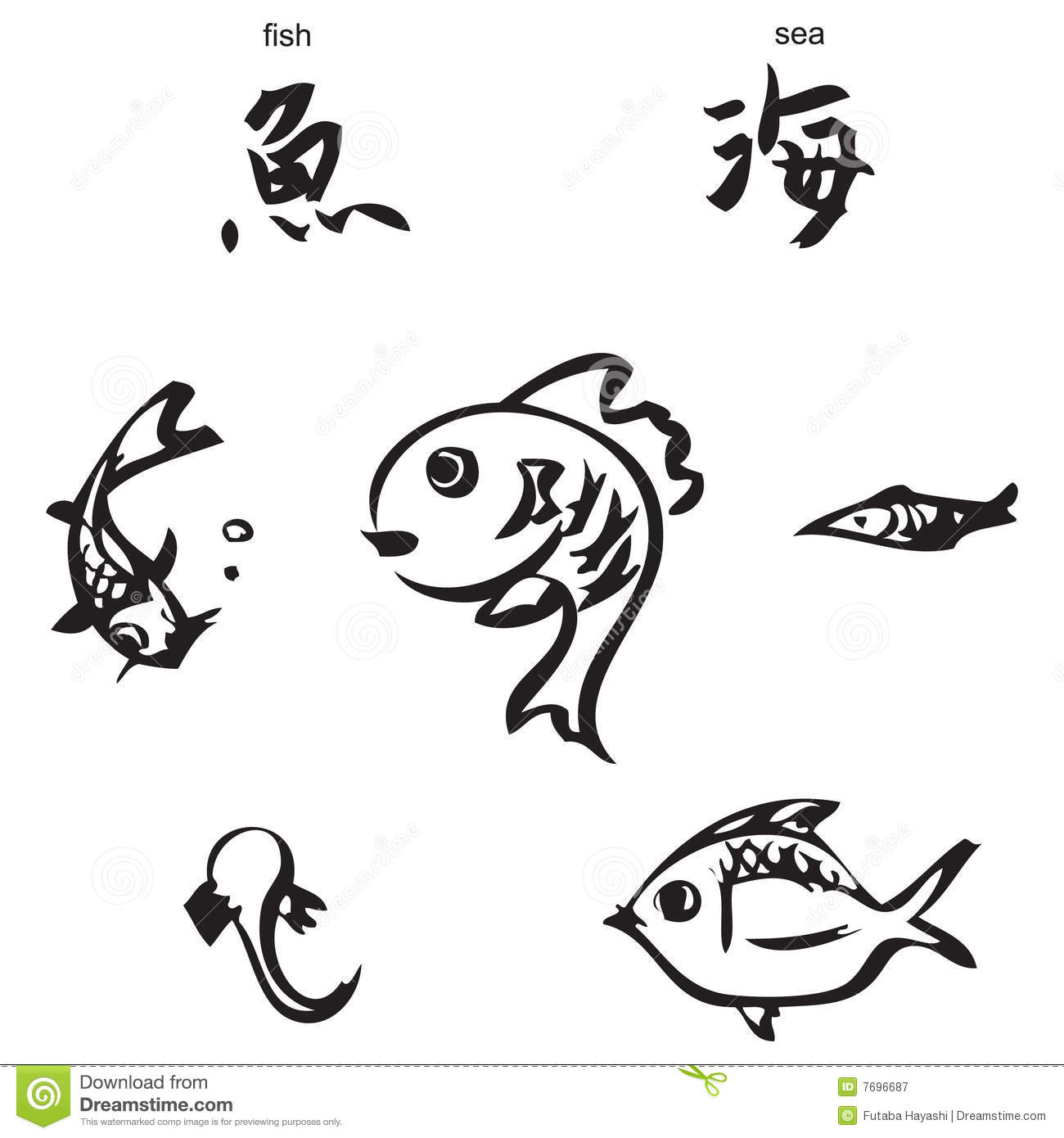 Fish sea chinese calligraphy stock vector image
