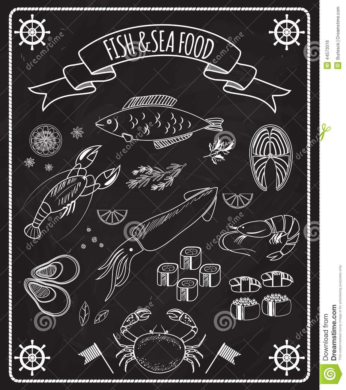 Fish And Seafood Blackboard Vector Elements Stock Vector ...