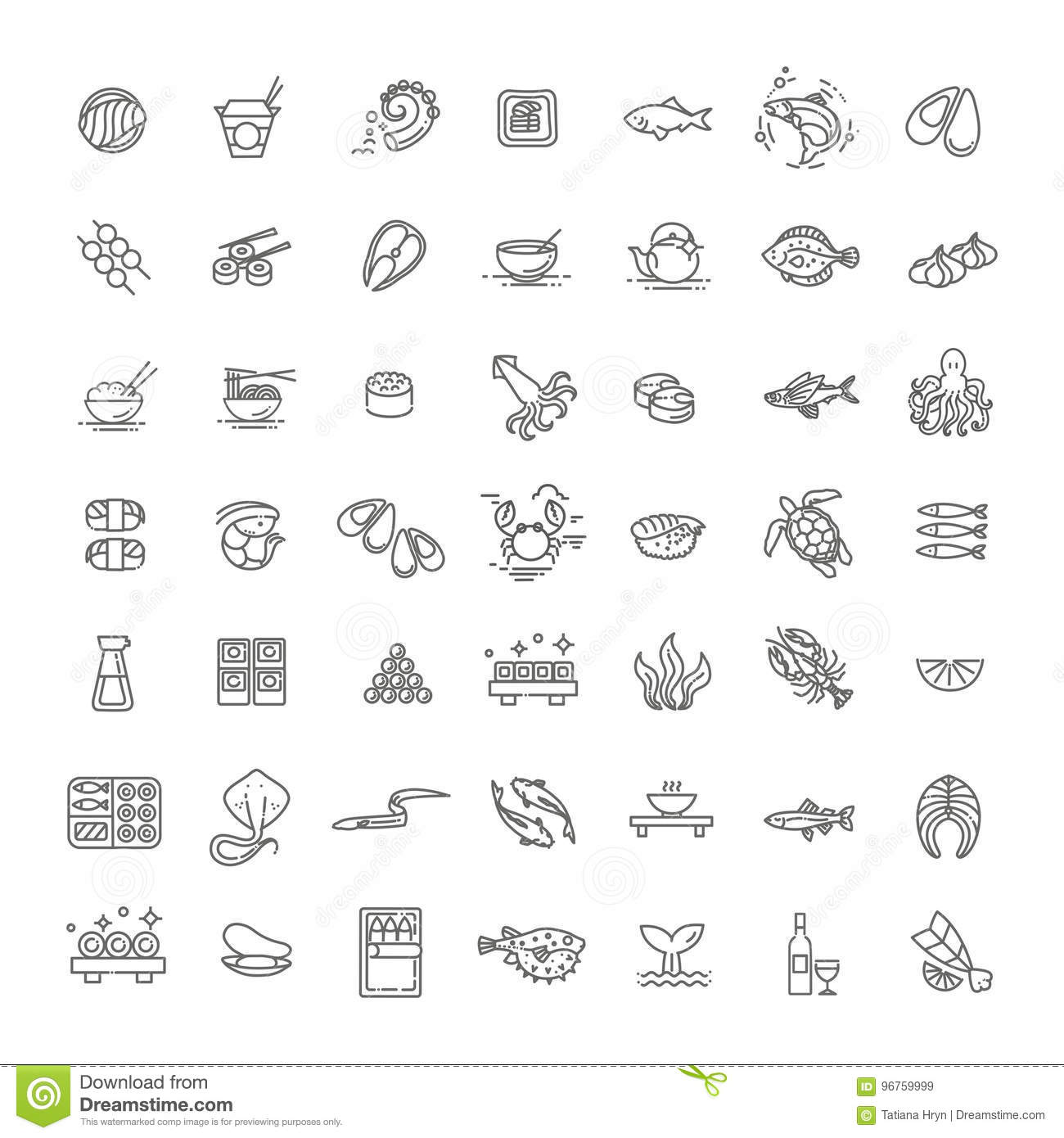 fish and seafood outline icon collection vector for restaurant