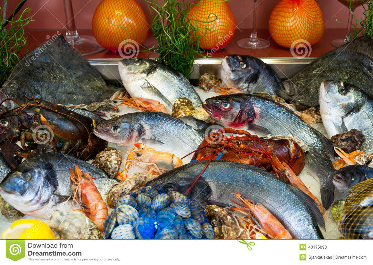 Fish and seafood restaurant stock image image 40175093 for Fish and seafood