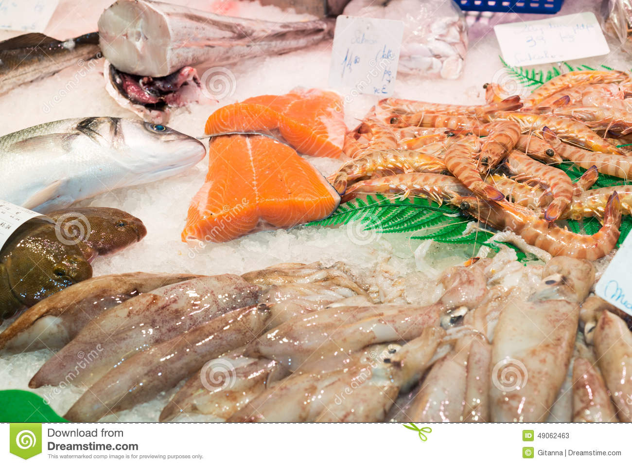 Fish and seafood store stock photo image 49062463 for Fish and seafood