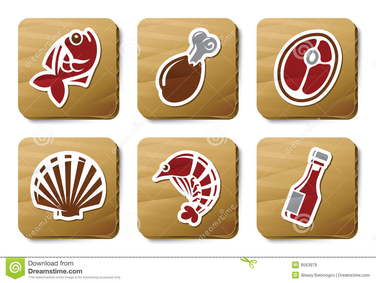 Fish, Seafoods and Meat icons | Cardboard series