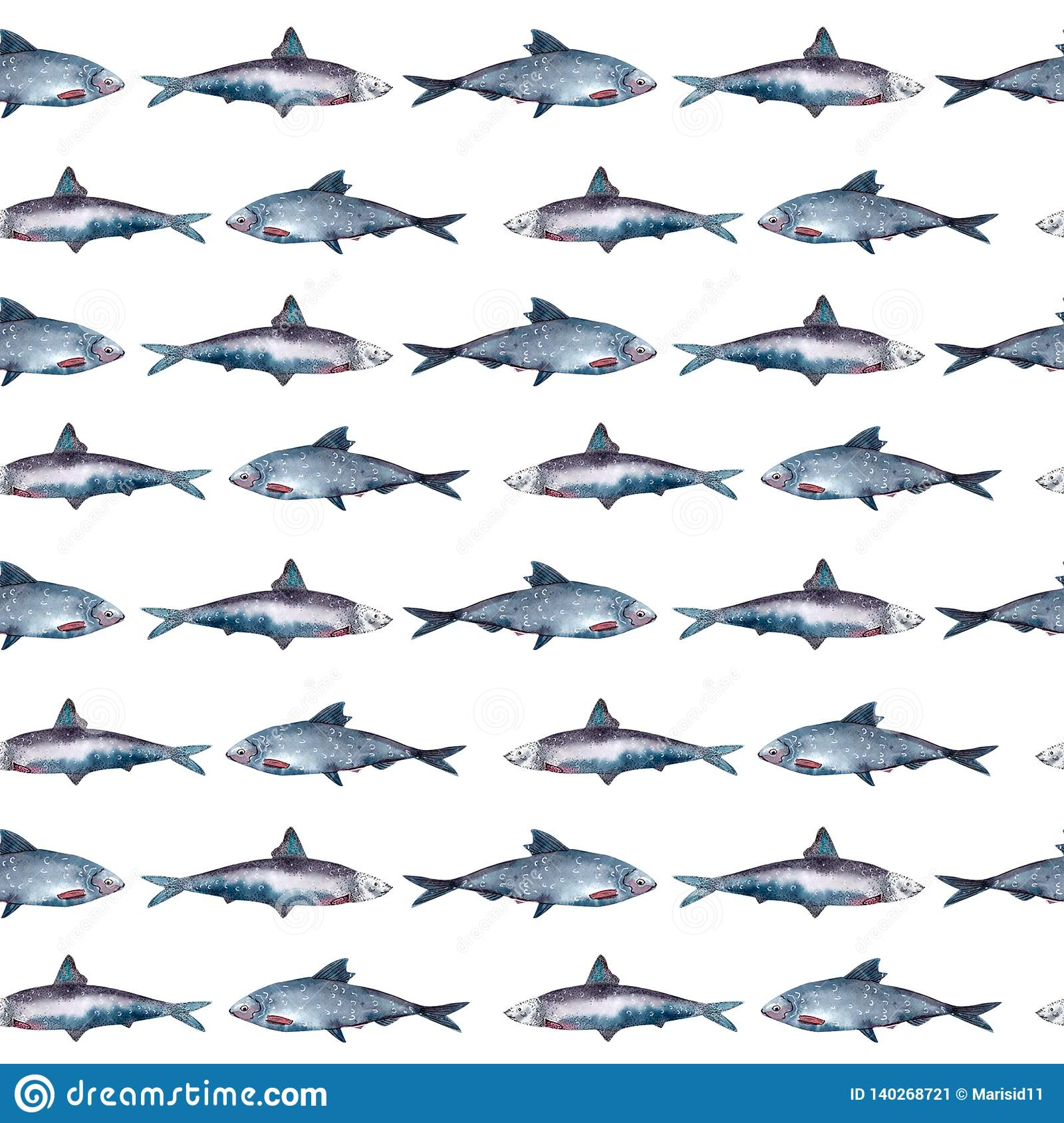 Fish seamless pattern, sardine
