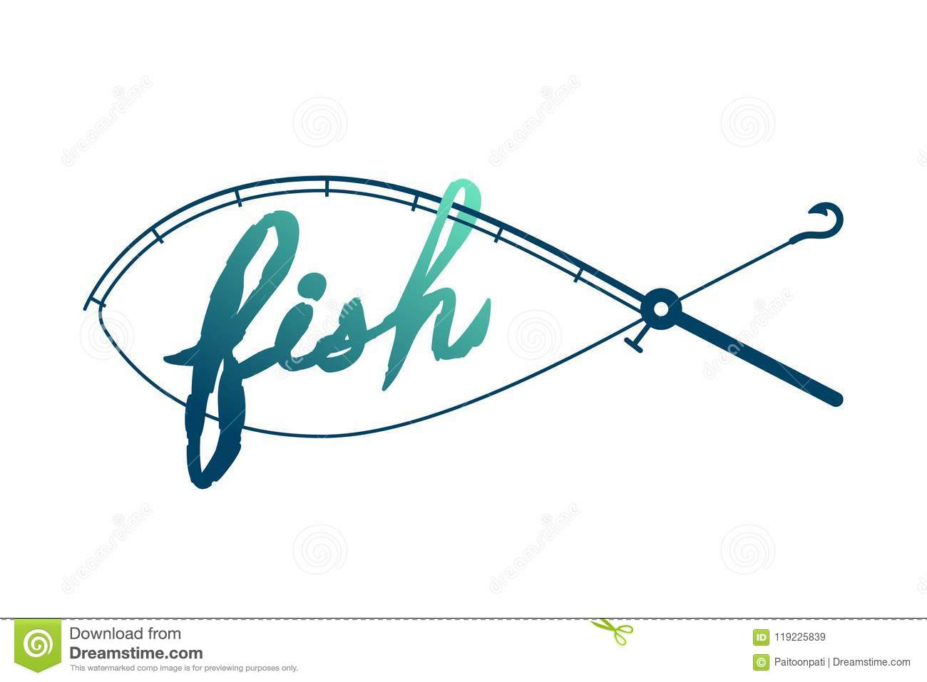Fish shape made from Fishing rod frame, logo icon set design green and dark blue gradient color illustration
