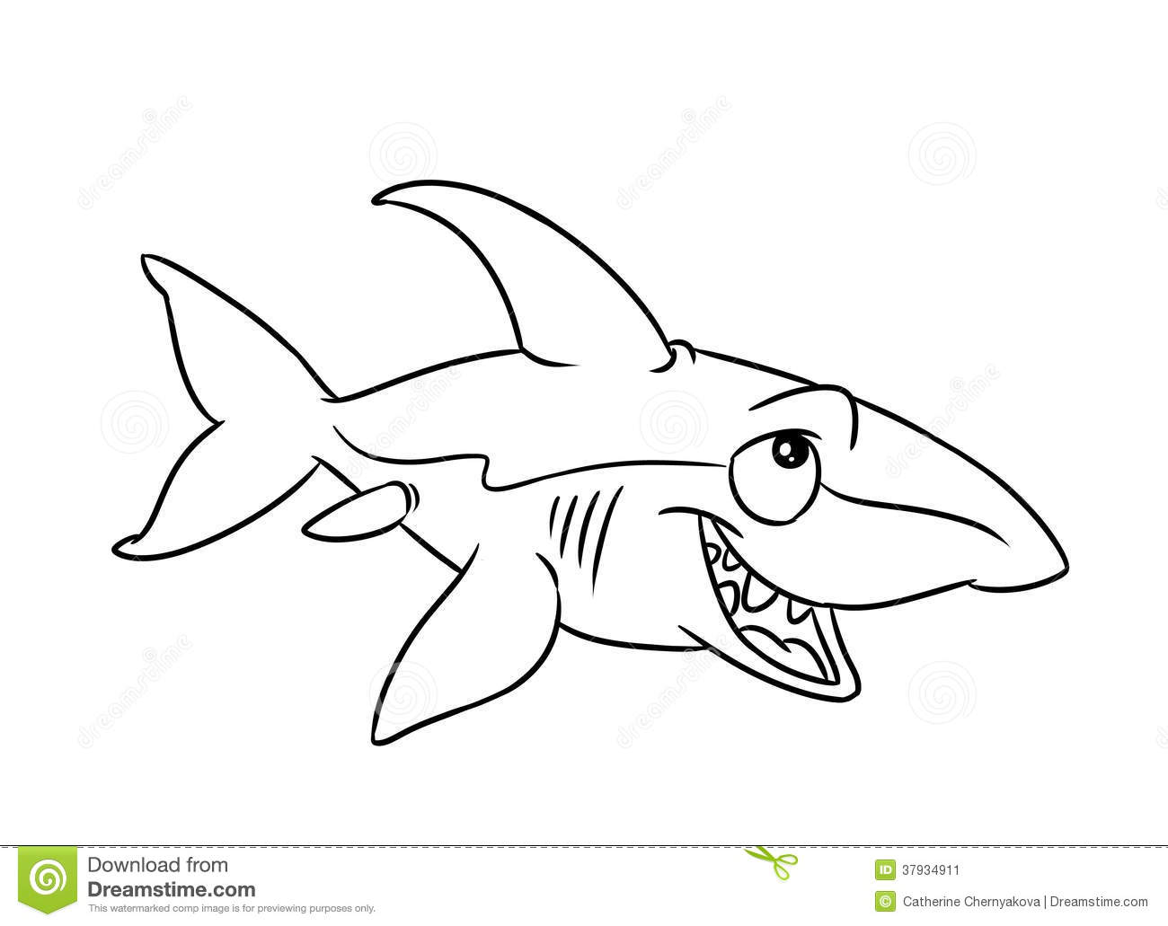 Fish Shark Illustration Coloring Pages Stock Illustration ...