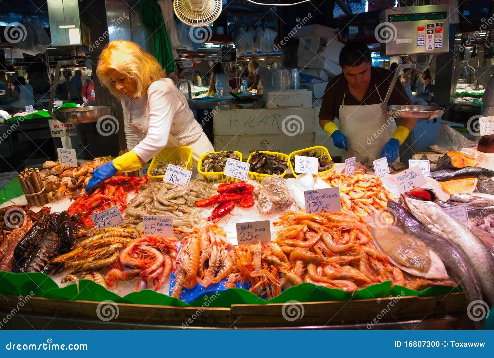 Fish shop in la boqueria market editorial image image of for La fish market