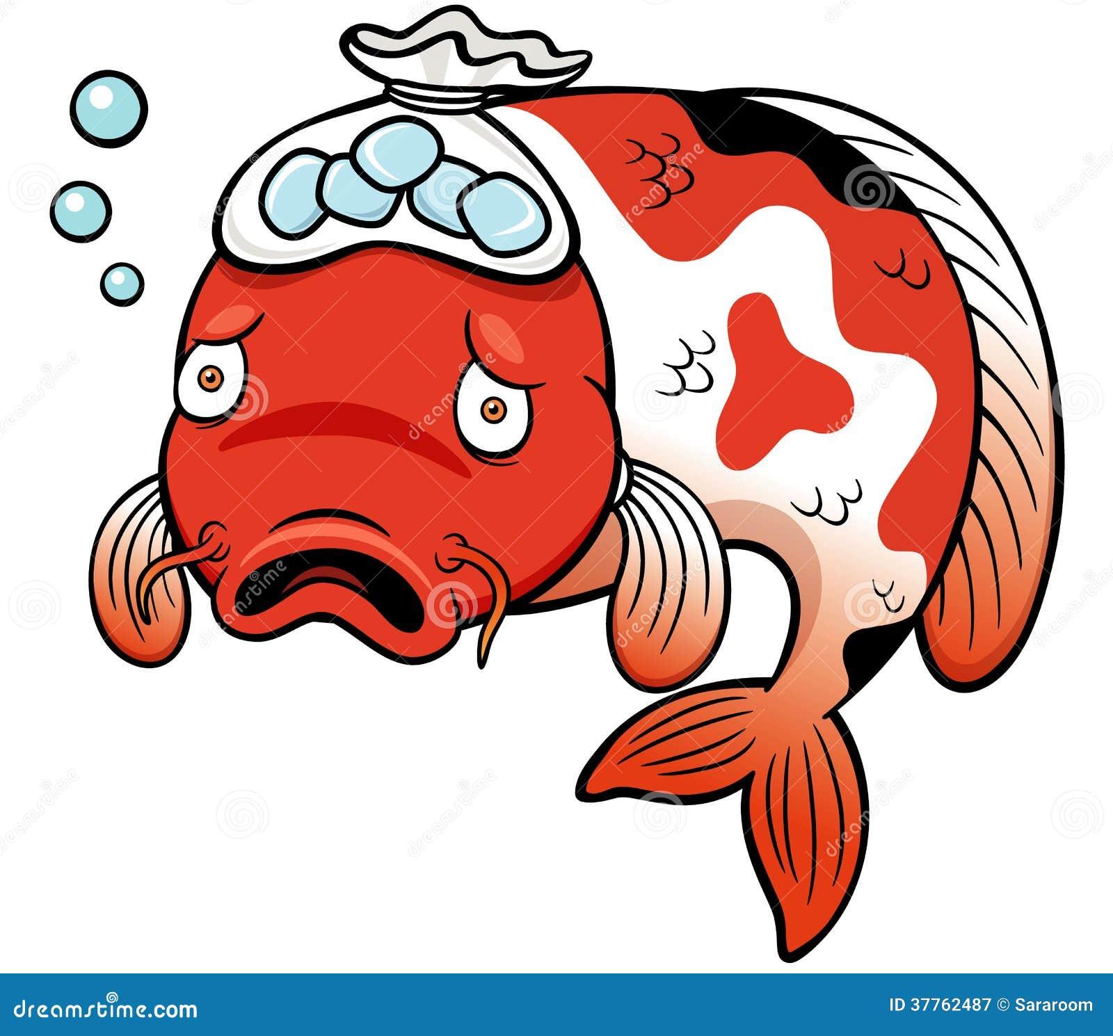 Fish sick cartoon stock vector illustration of sick for Sick koi fish