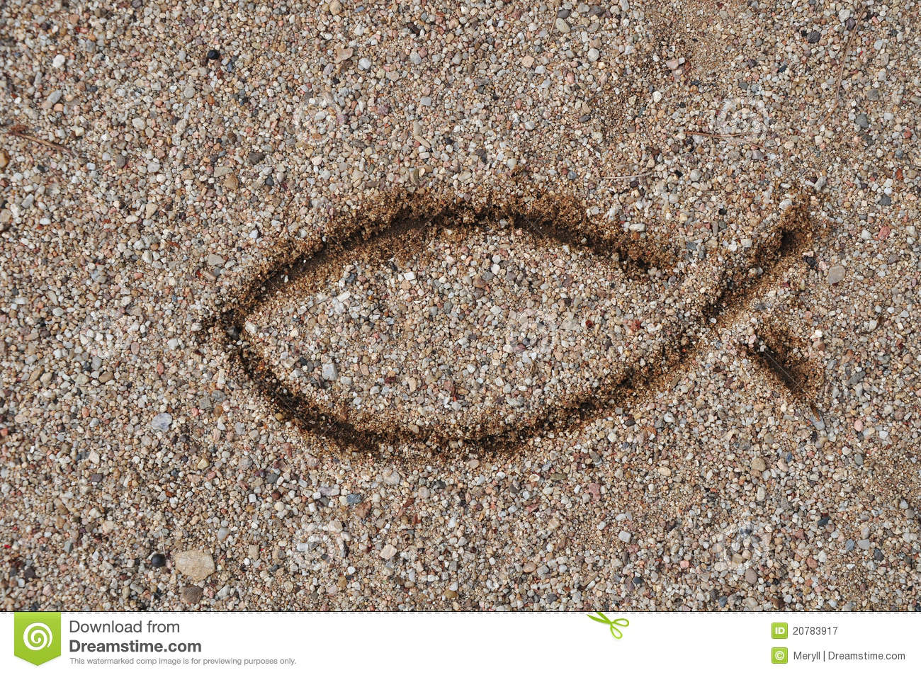 Christian fish stock images 505 photos fish sign christianity symbol fish sign drawed in sand as an old symbol for christians biocorpaavc Gallery