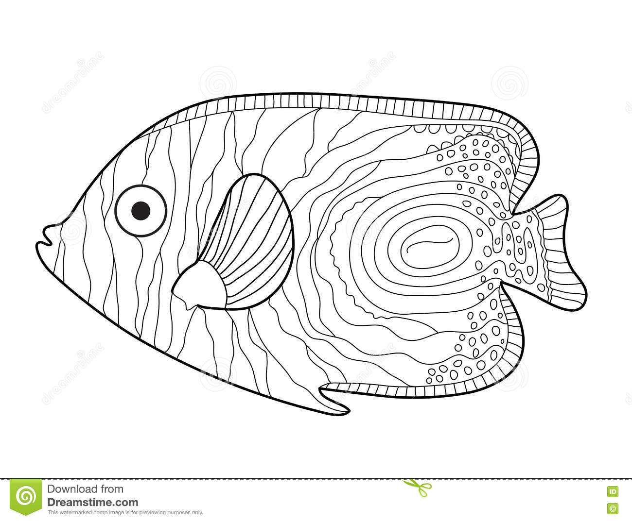 Fish Sketch Doodle Style Hand Drawing Coloring Book Vector