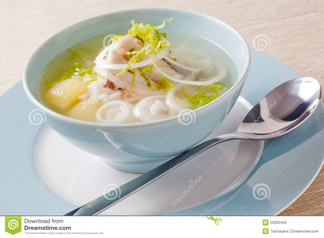 Fish Soup wiht white fish, onion, potato and rise.