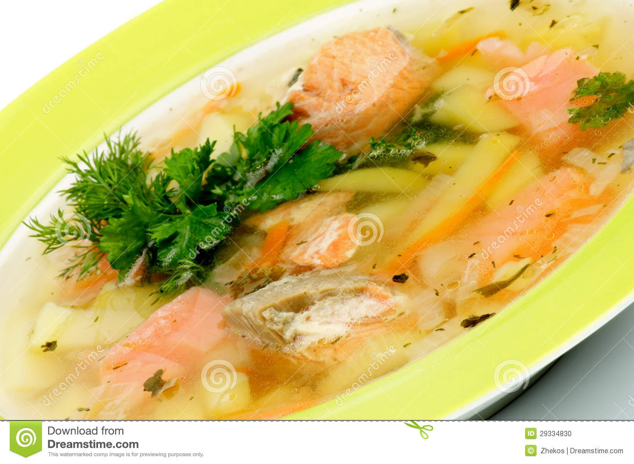 Fish Soup with Salmon, Cod, Trout, Potato, Carrot decorated with Dill ...