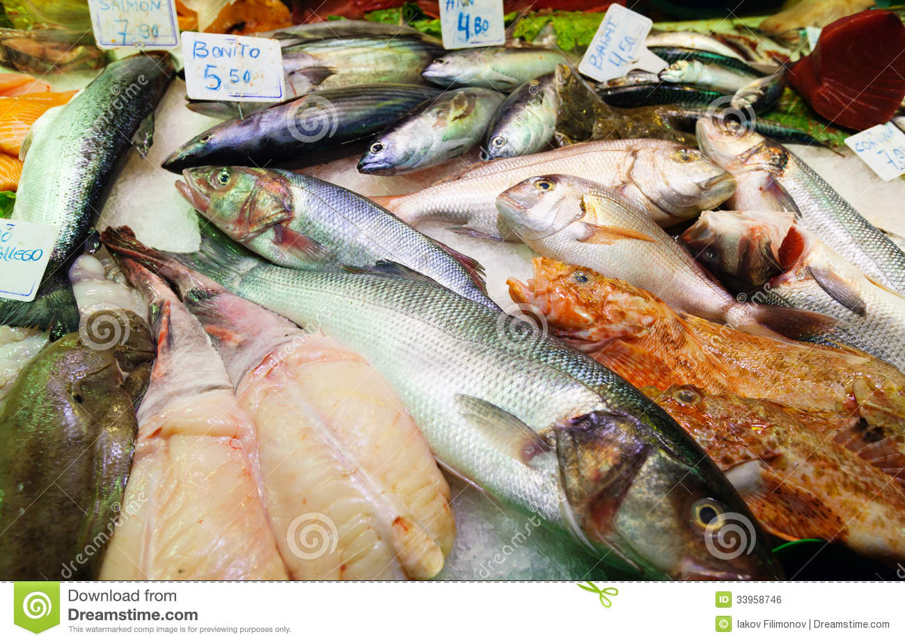 Fish on spanish market counter royalty free stock image for Fish in spanish