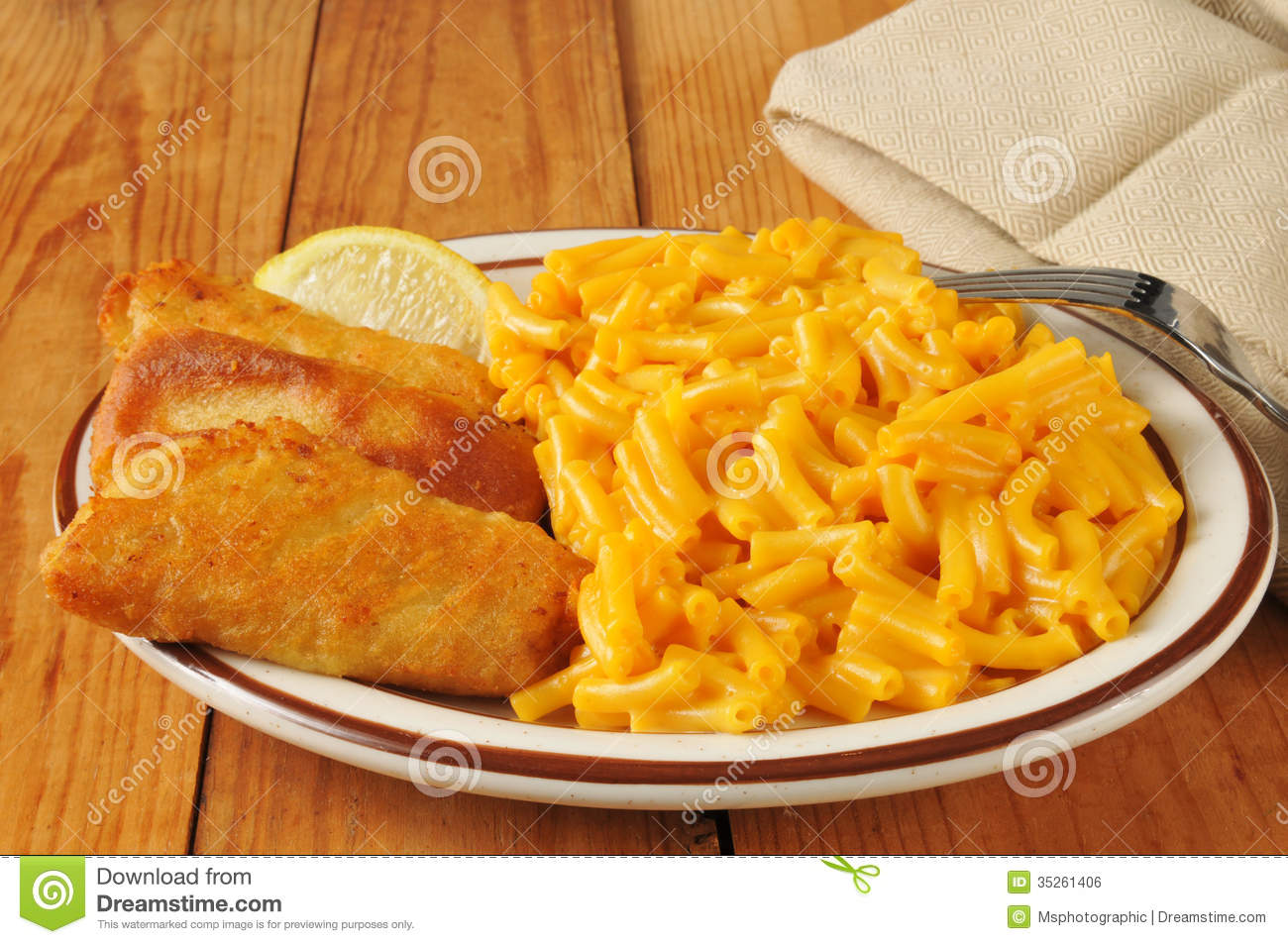 Fish stick with macaroni and cheese royalty free stock for Fish and cheese