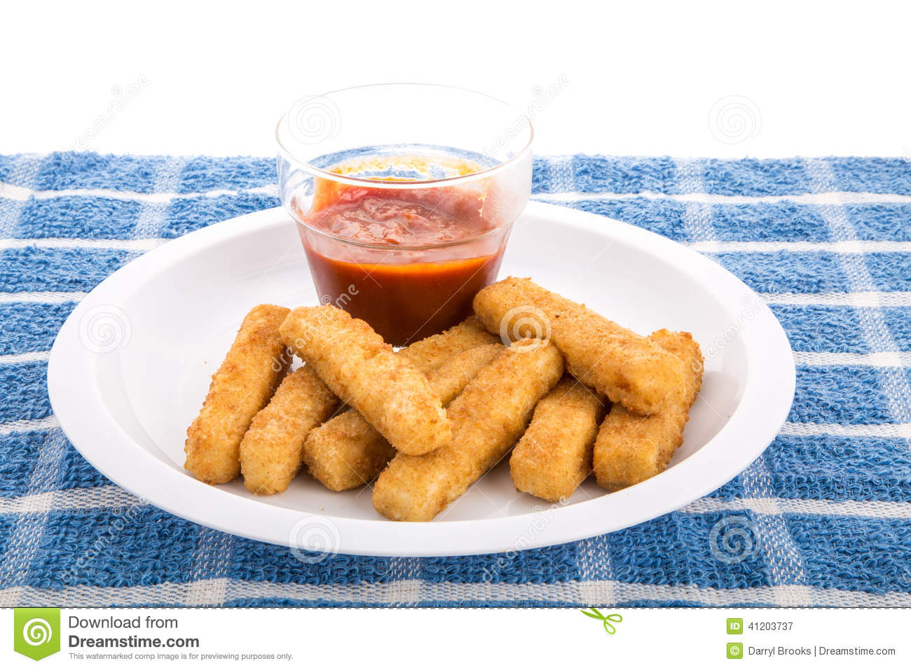 Fish sticks on plate with cocktail sauce stock image for Sauce for fish sticks
