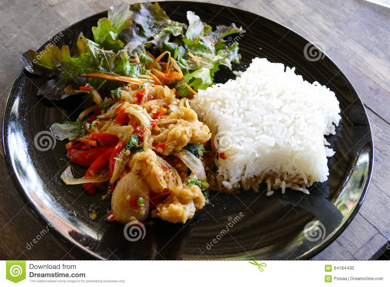Fish stir fry with chili sauce serving with rice and for Fish sauce stir fry