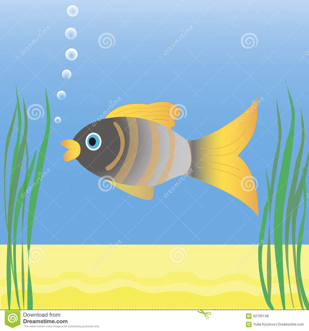 Fish swimming in blue water stock vector image 62705148 for Dream of fish swimming