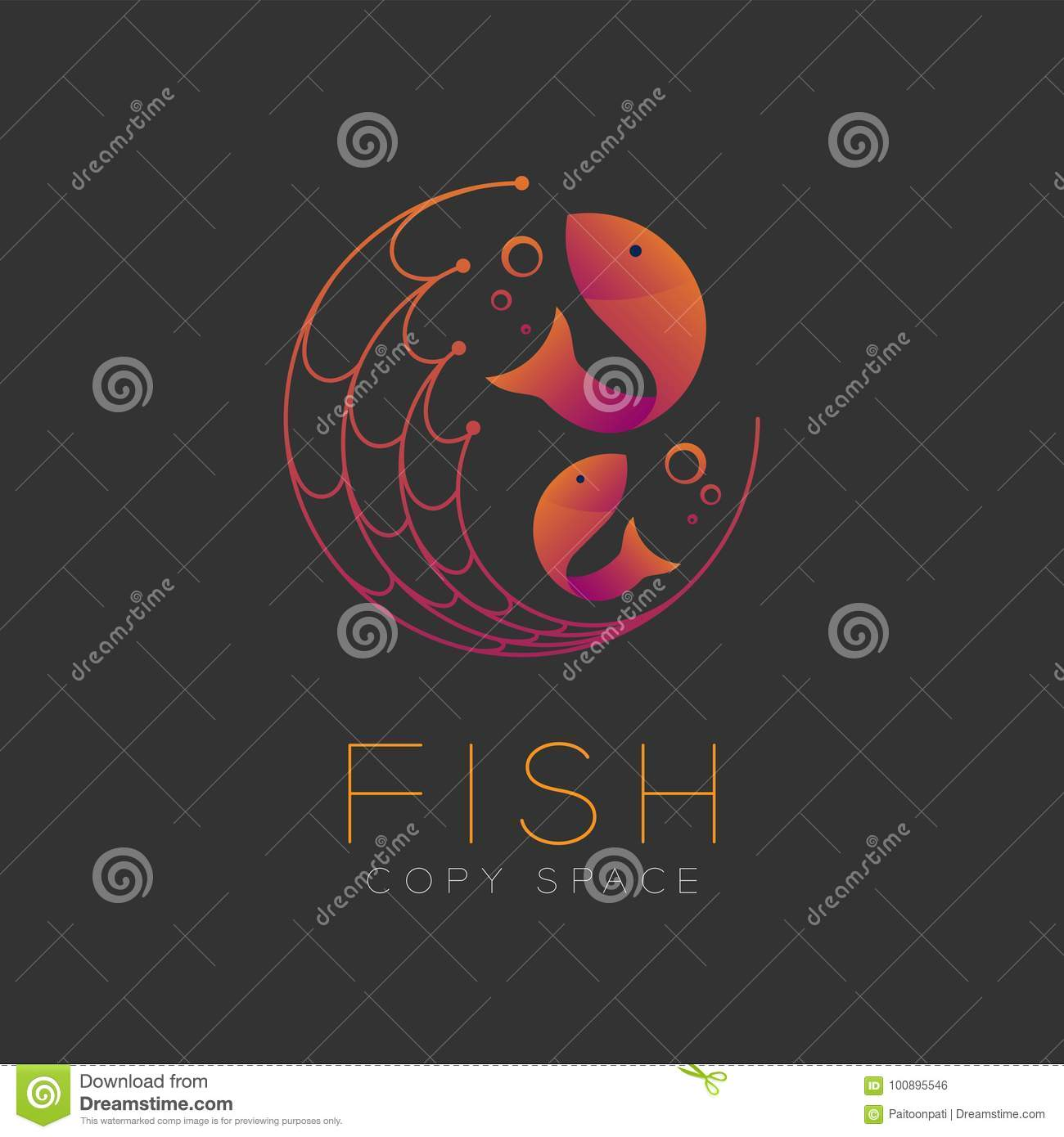 Fish symbol icon and fishing net air bubble set orange violet stock fish symbol icon and fishing net air bubble set orange violet buycottarizona Gallery
