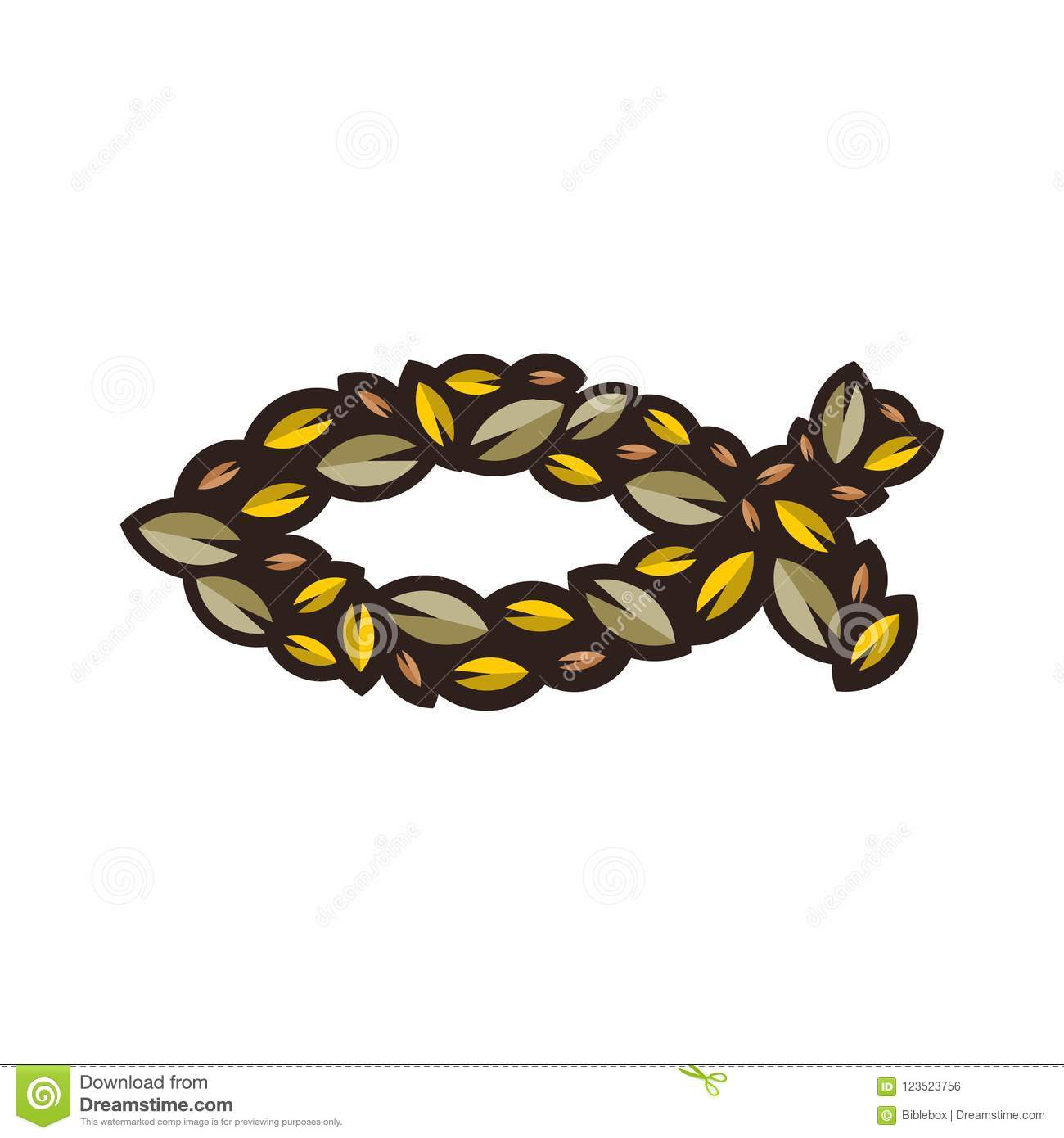 Fish A Symbol Of Jesus Christ Lined With Decorative Leaves Stock