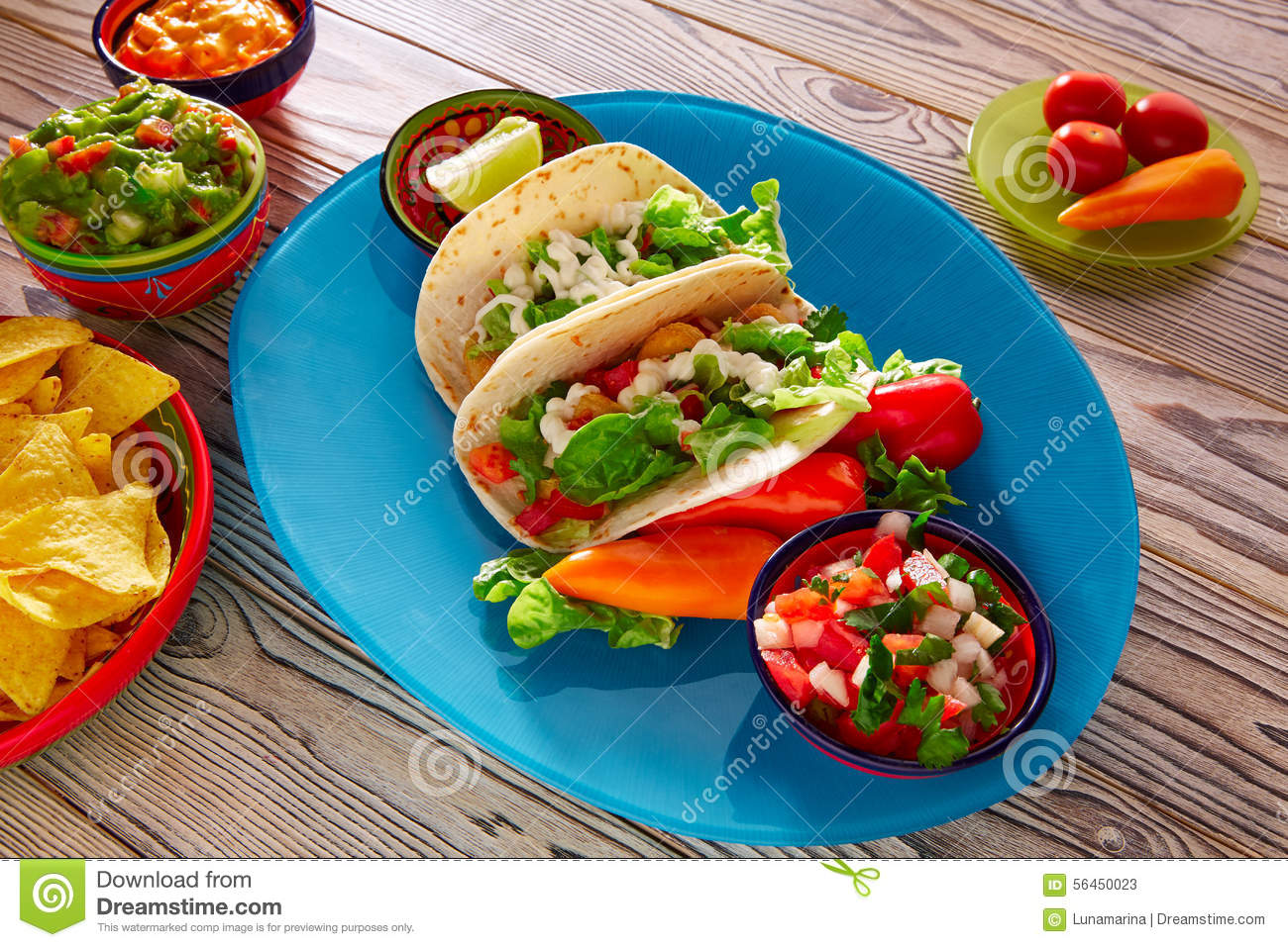 Fish Tacos Mexican Food Guacamole Nachos And Chili Stock Photo - Image ...