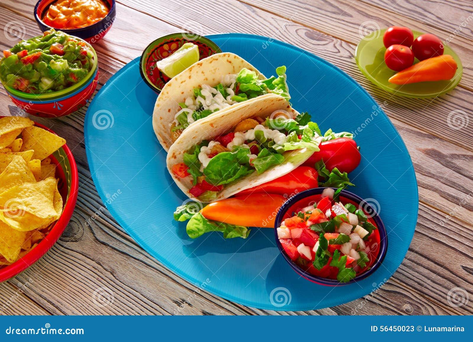Fish Tacos Mexican Food Guacamole Nachos And Chili Stock Photo - Image ...