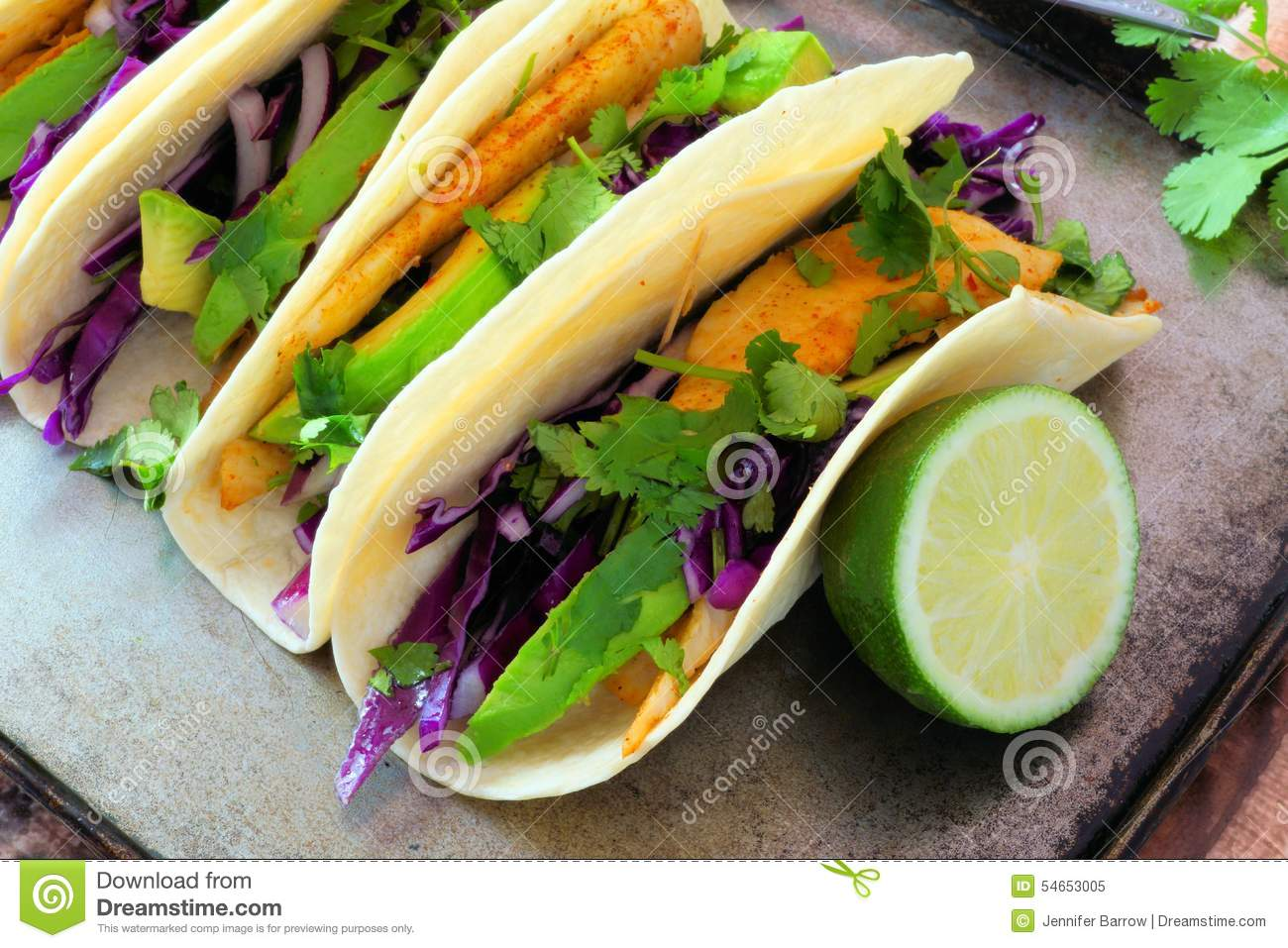 Fish tacos with red cabbage lime slaw stock photo image for Fish taco red cabbage slaw