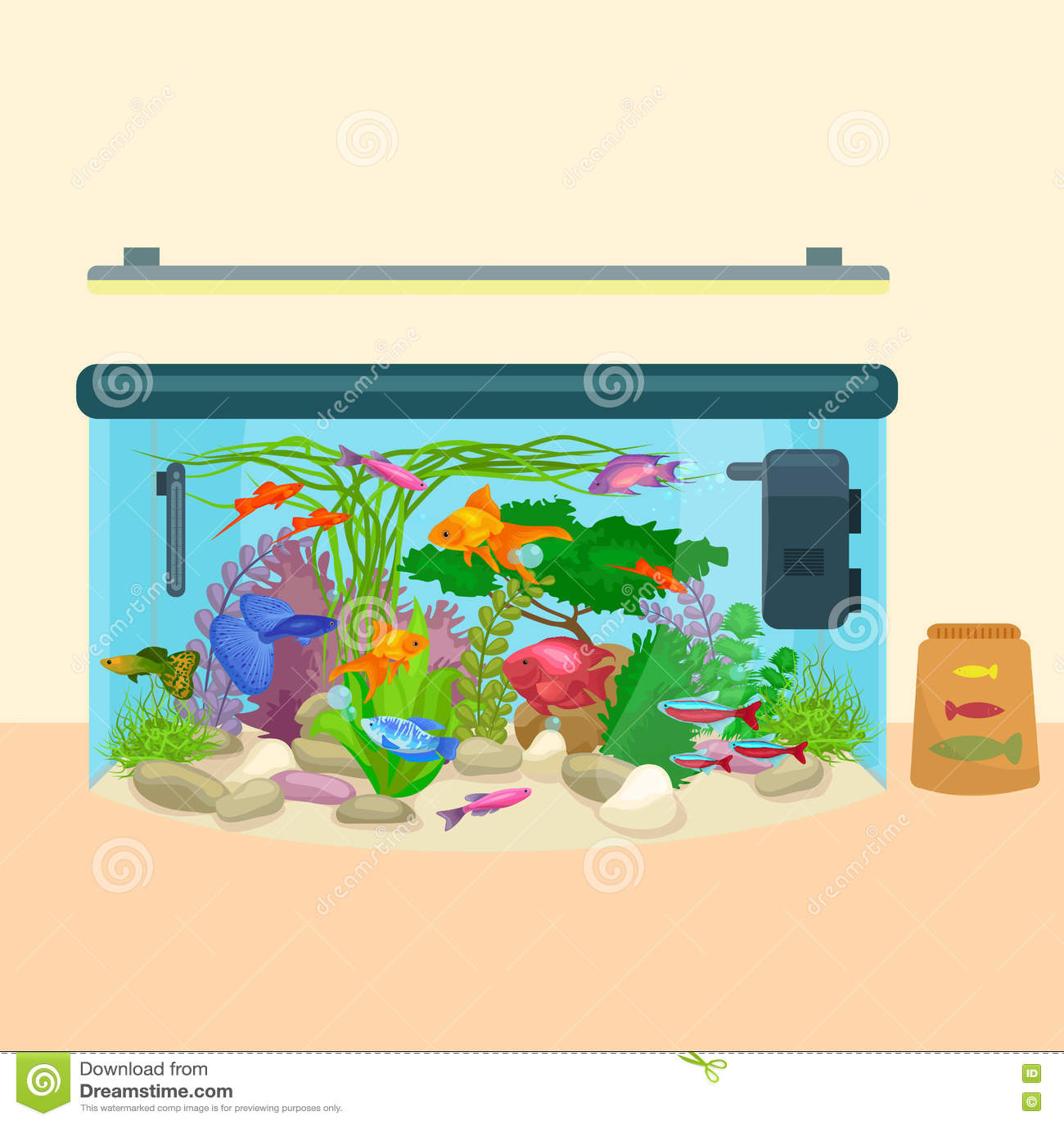Stock Vector: Fish tank, aquarium with water, animals, algae, corals ...