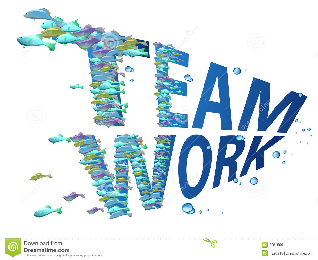 Fish swim together in group of teamwork,business concept.