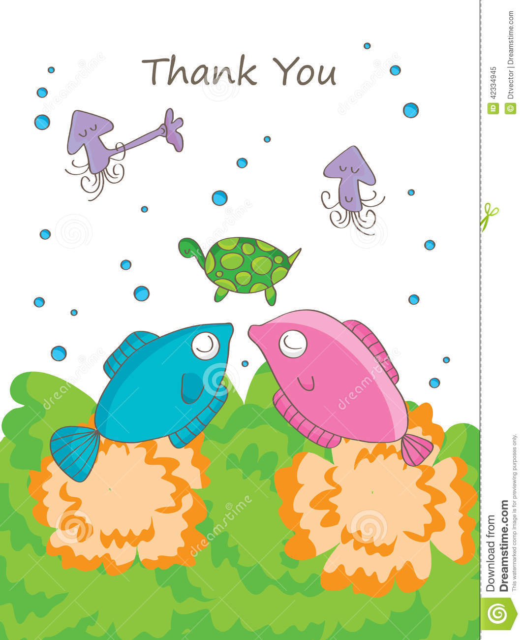 Fish Thank You Stock Vector Image 42334945