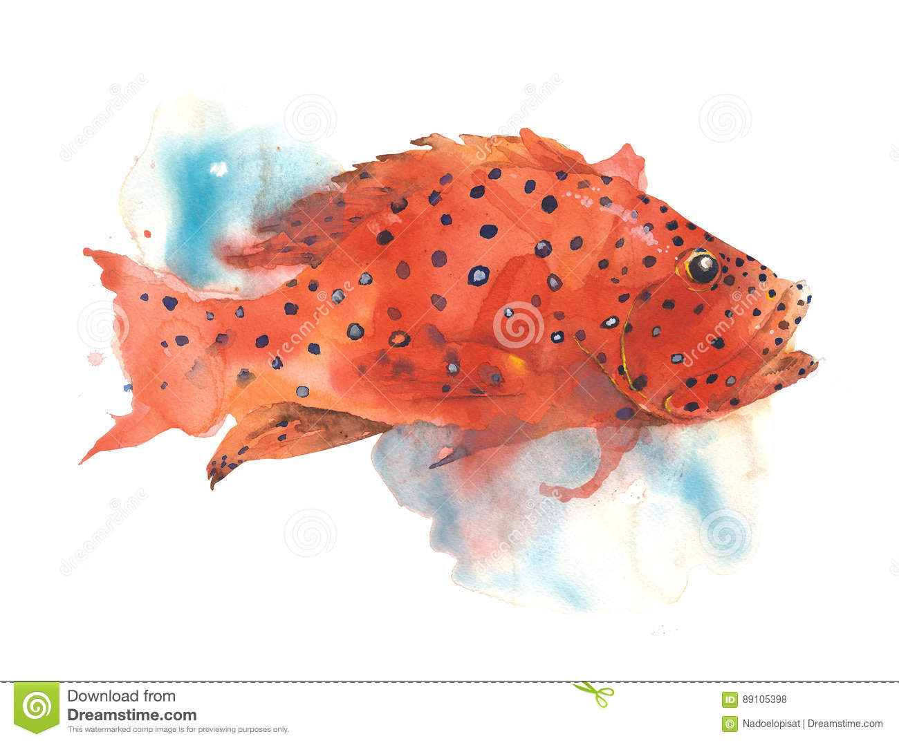 Fish Tropical Bright Color Polka Dot Sea Creature Watercolor ...