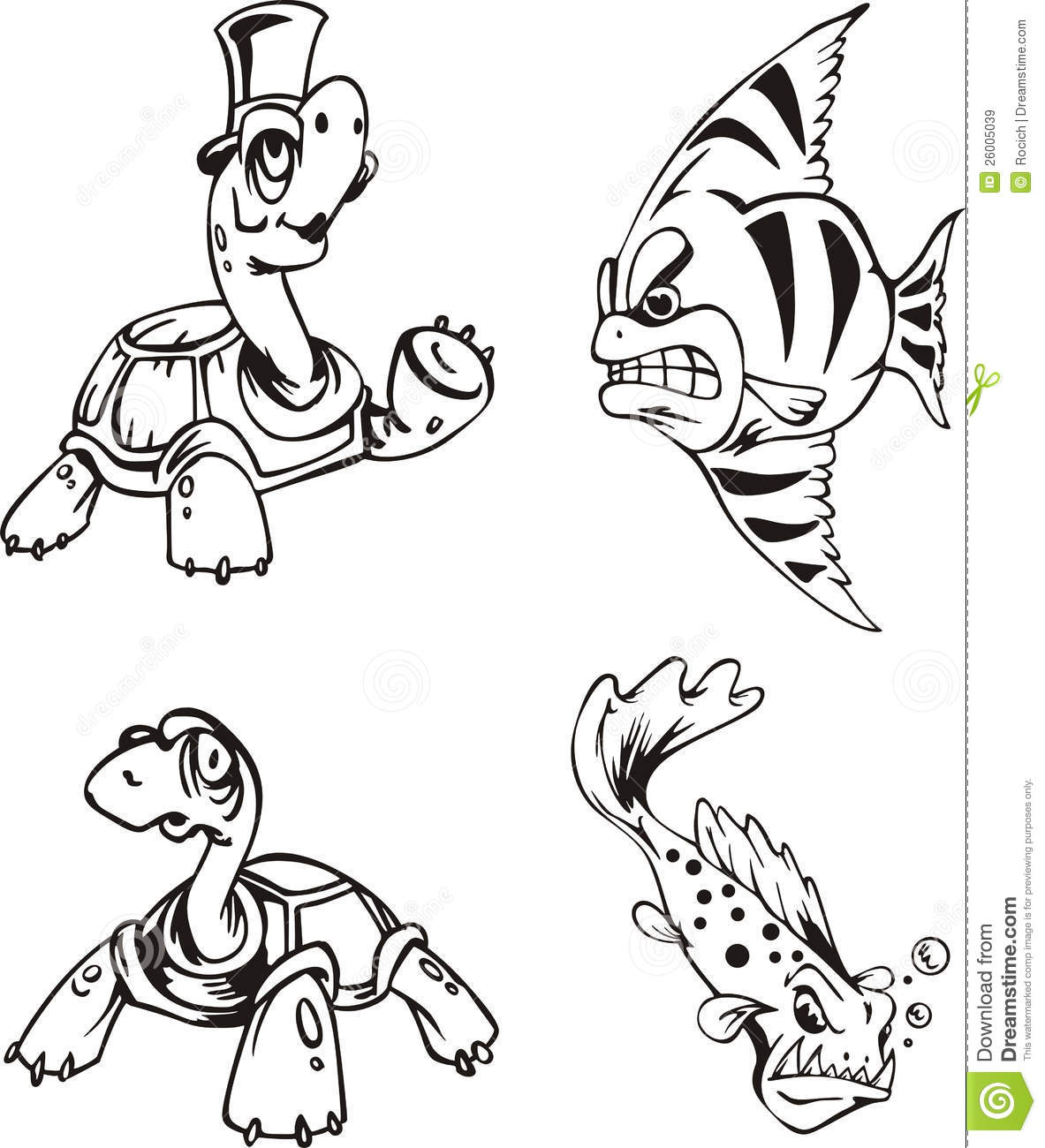 fish and turtle cartoons stock vector illustration of fish 26005039