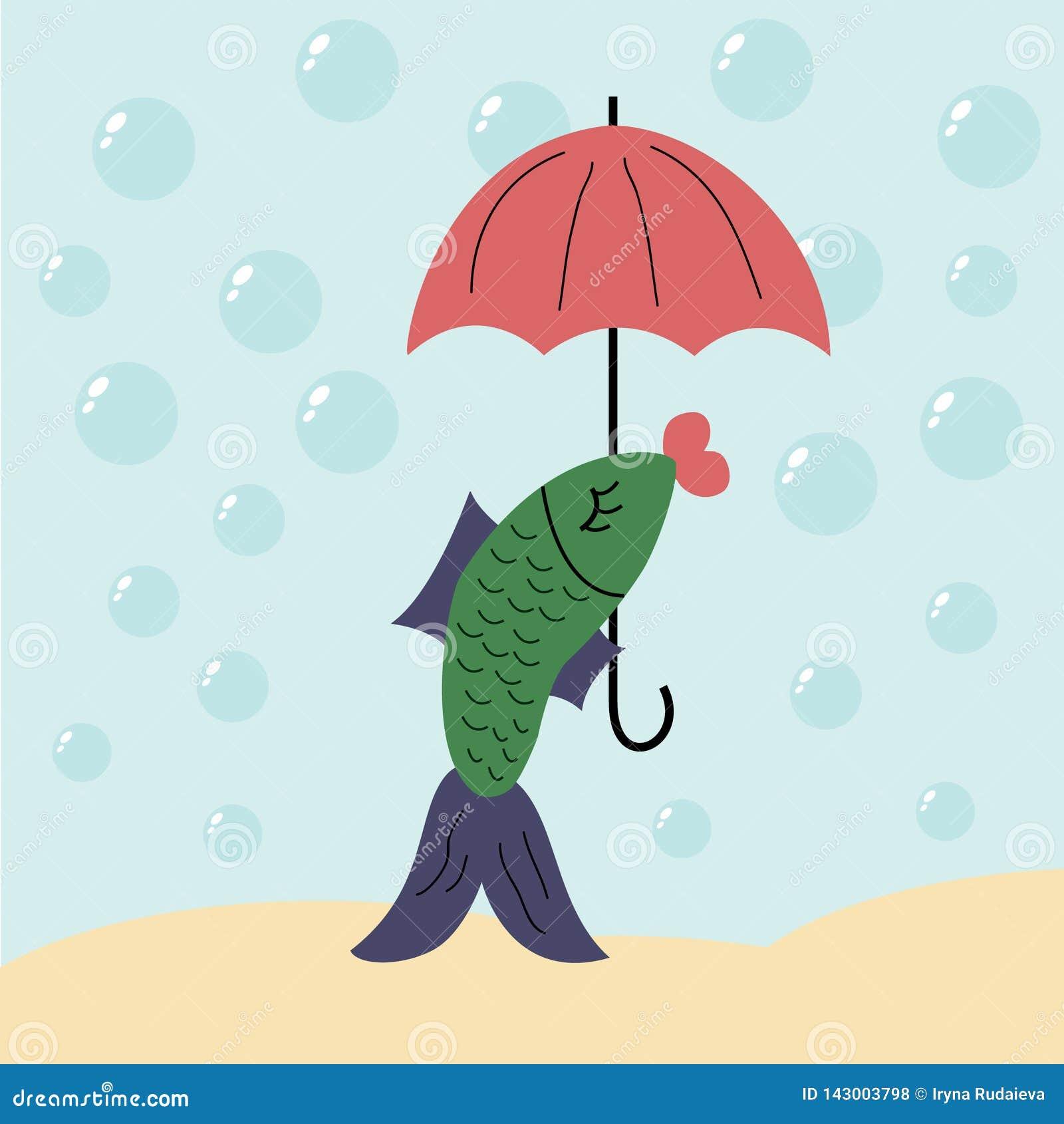 Fish under the umbrella