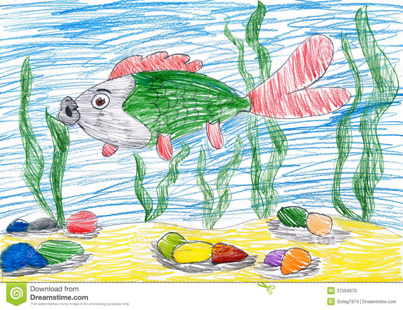 fish underwater child drawing stock photo image 37504670 sea shell clipart png seashell clipart black and white