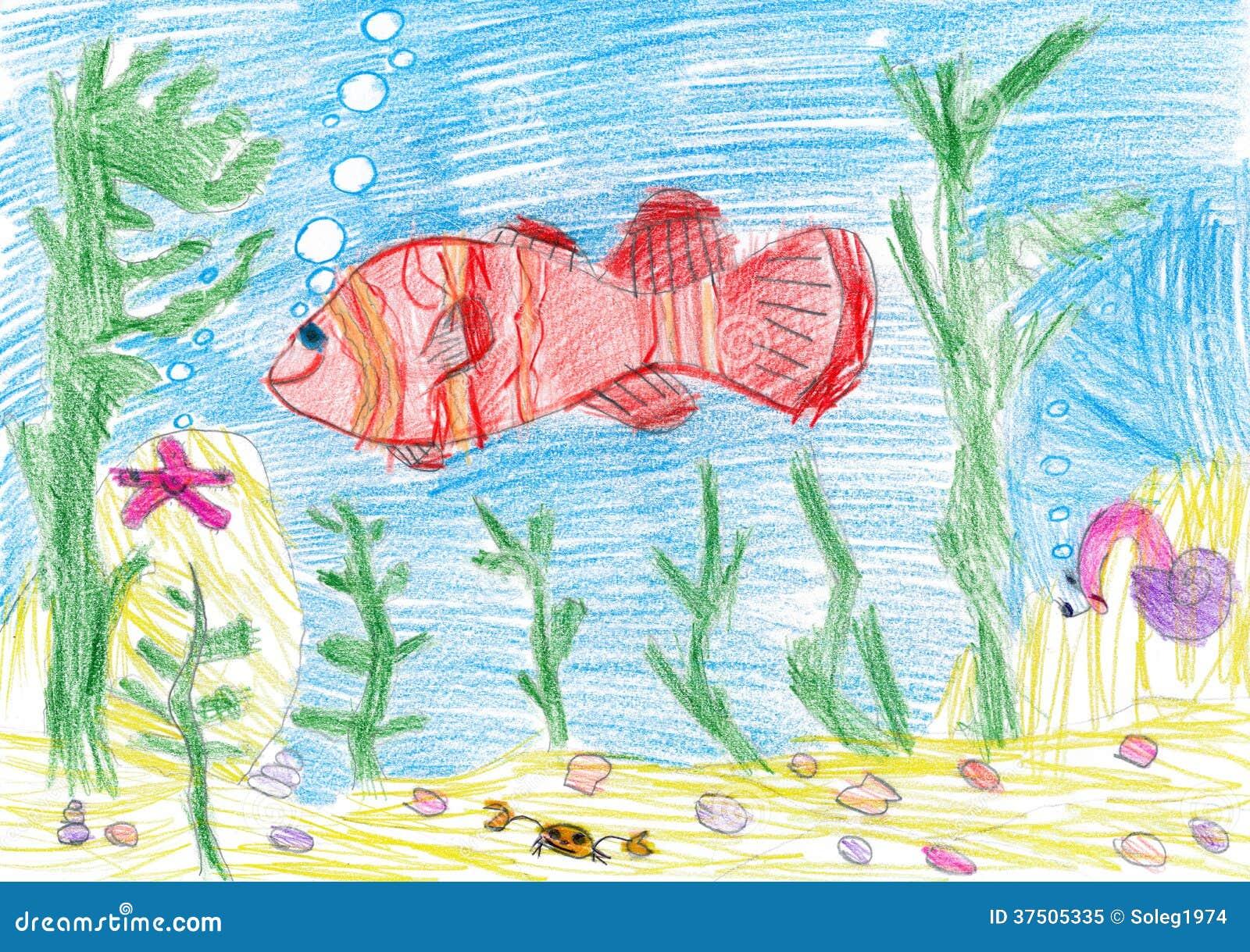 Fish Underwater. Child...