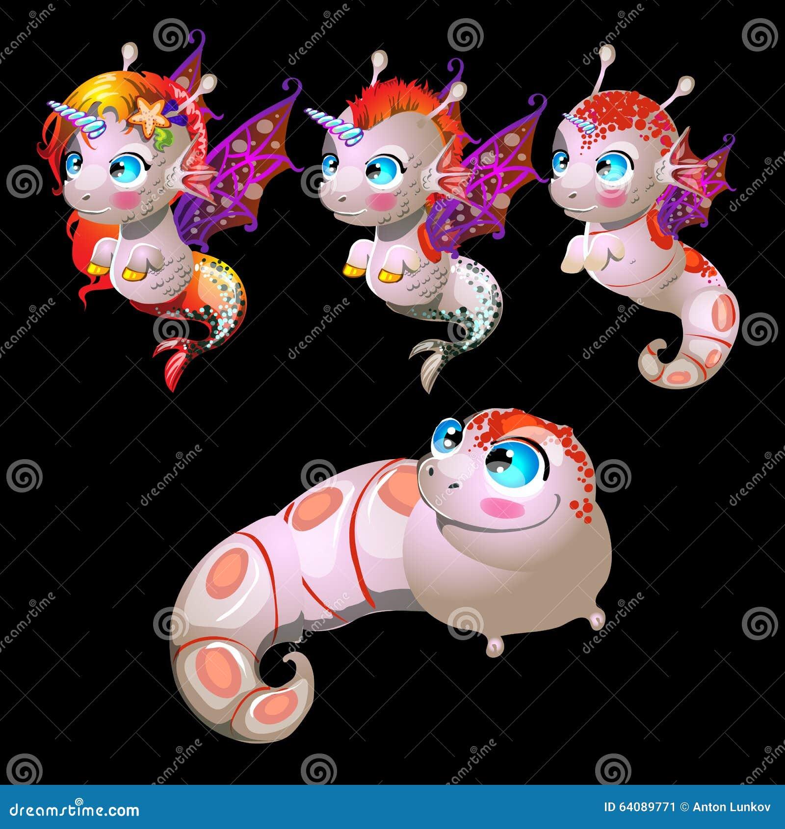 fish unicorns male and female characters stock vector image