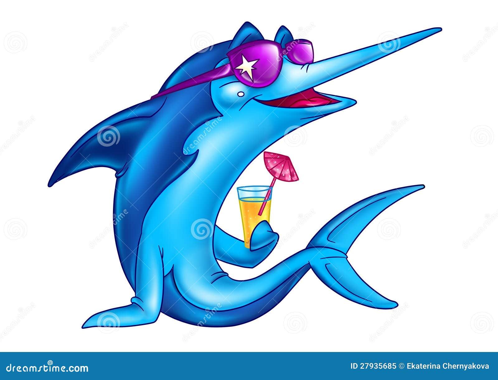 Fish On Vacation Cartoon Royalty Free Stock Photo - Image: 27935685