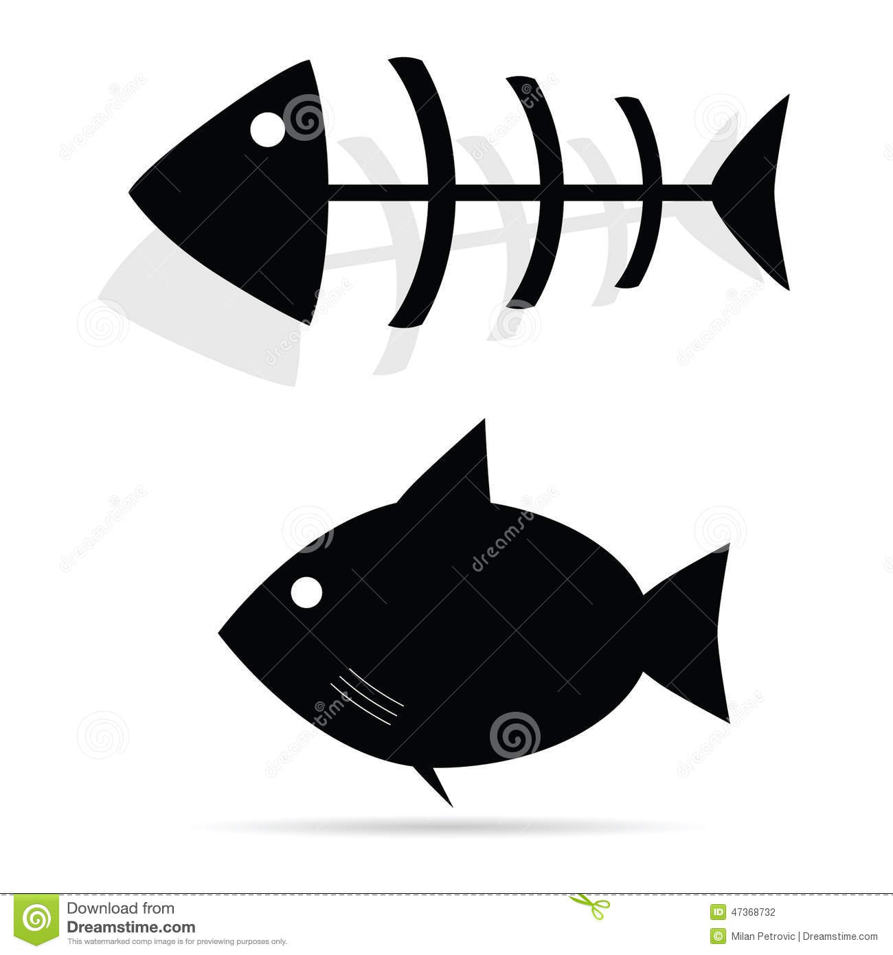 Fish Vector Black Art Illustration Stock Vector - Image: 47368732