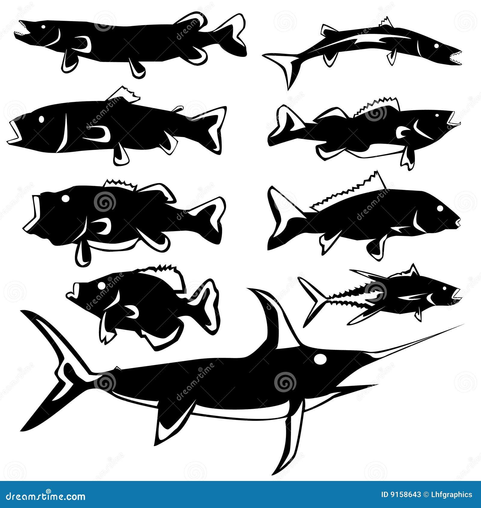 Черно белые картинки рыбы 1