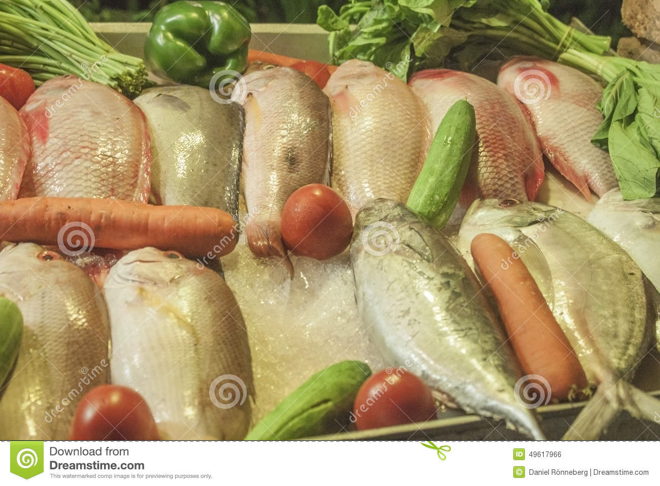 Fish and vegetable stock photo image 49617966 for What vegetables go with fish