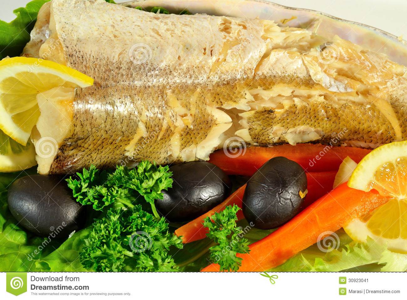 Fish with vegetables and herbs stock image image 30923041 for What vegetables go with fish