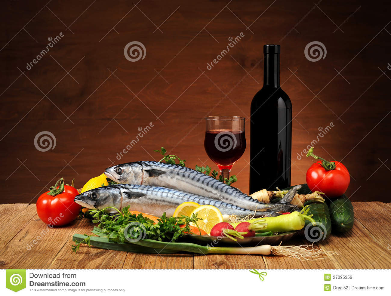 Fish with vegetables and wine royalty free stock image for Wine with fish