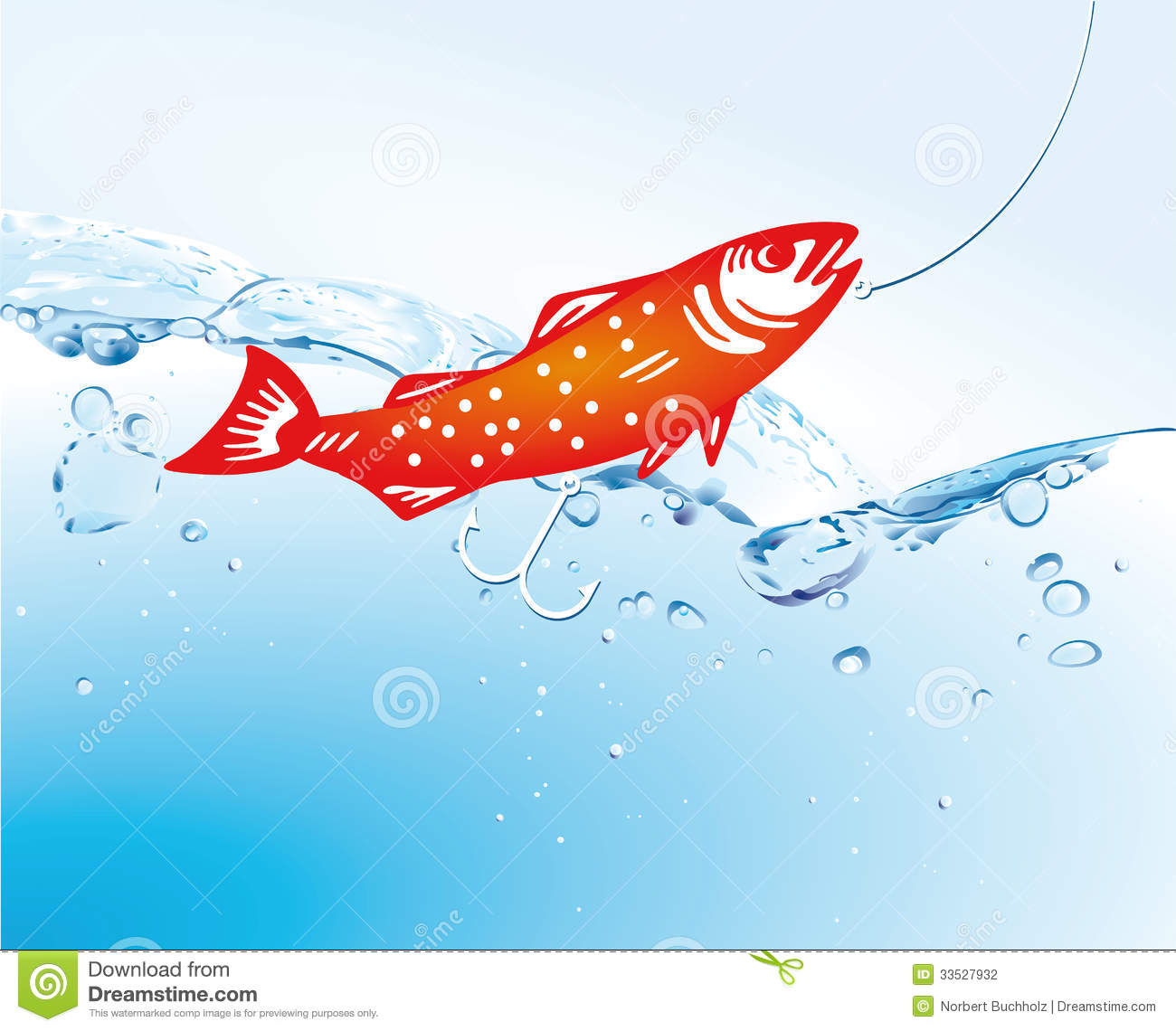 Fish In Water With Fishing Line Stock Photography Image