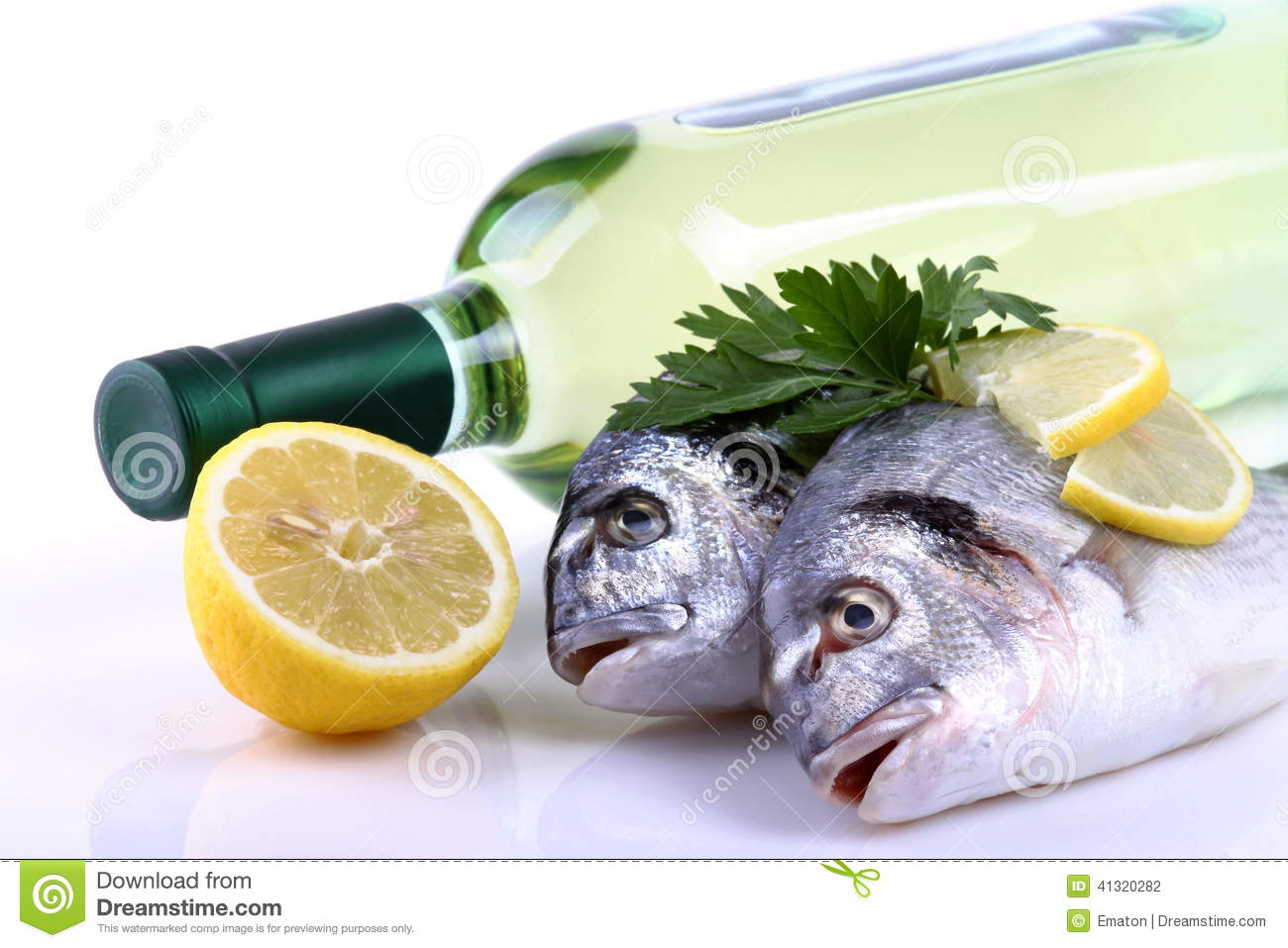 Fish and white wine stock photo image 41320282 for White wine with fish