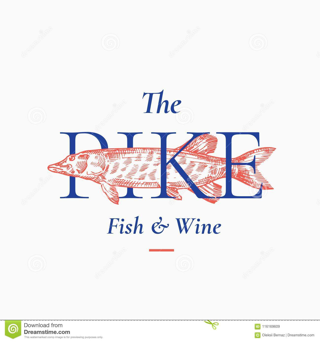 Fish Restaurant Abstract Vector Sign Symbol Or Logo Template