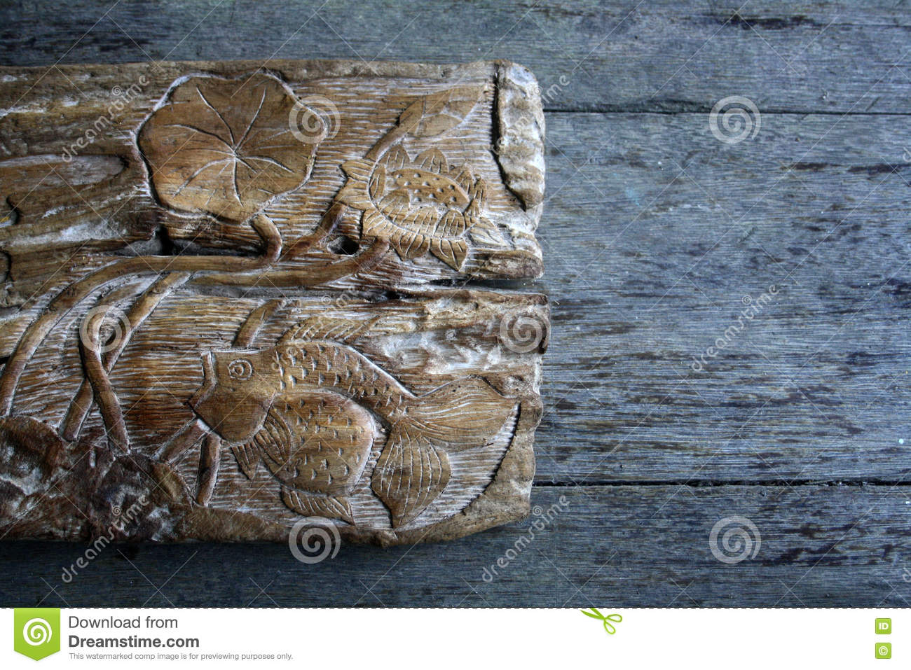 Fish wood carvings stock image image of stone golden