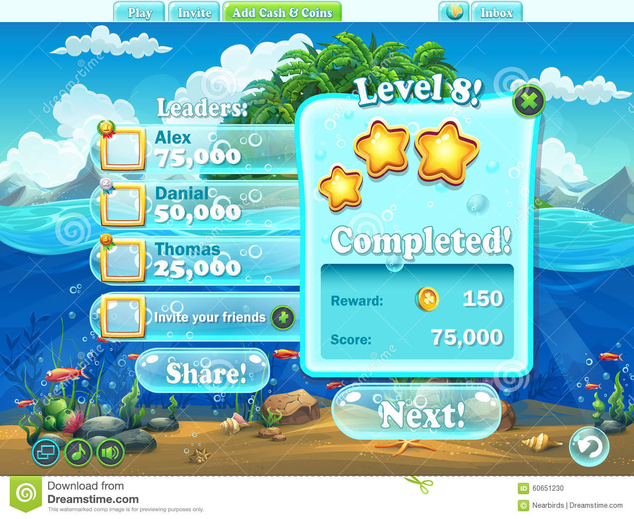 Fish world example of window level completion for a for Fish world games