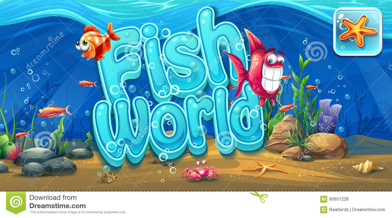 Fish world horizontal banner icon to the computer game for Fishing world game